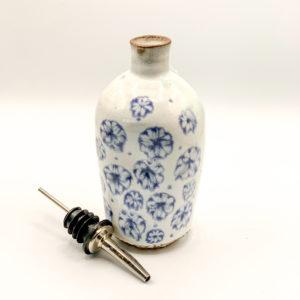 Blue and White Stoneware Olive Oil Cruet