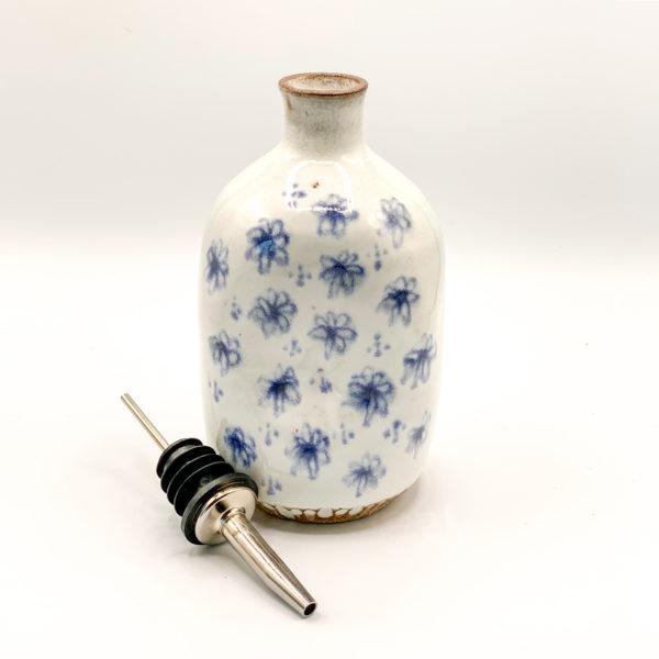 Julie Spako Blue and White Stoneware Olive Oil Cruet