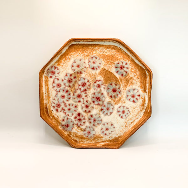 Julie Spako Red Stoneware Large Octagon Plate