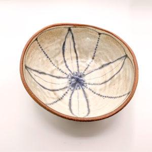 Julie Spako Geometric Blue Stoneware Medium Bowl