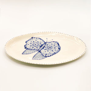 Julie Spako Navy and White Butterfly Plate