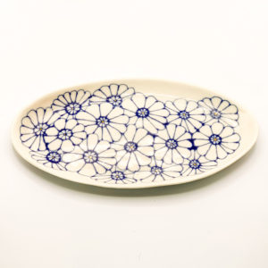 Julie Spako Navy and White with Gold Floral Plate