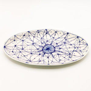 Julie Spako Navy and White Floral Plate