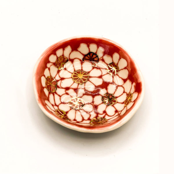 Julie Spako Red and White and Gold Details Floral Catch-All Dish
