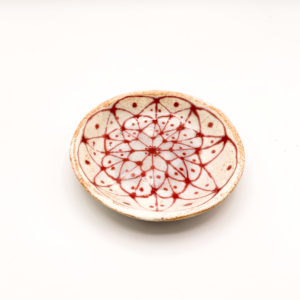 Julie Spako Red Orange Floral Plate