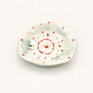 Julie Spako Small White Teal and Red Small Bowl