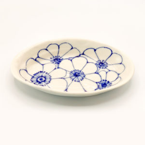 Julie Spako Blue and White Oval Plate
