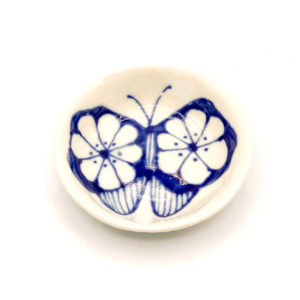 Julie Spako Blue and White Floral Butterfly Catch-All Dish