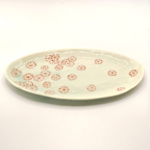 Julie Spako Green and Red Porcelain Medium Plate