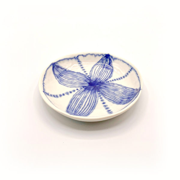 Julie Spako White and Blue Floral Small Circle Plate